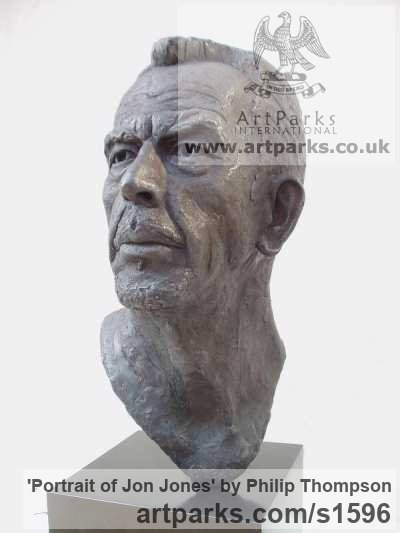 Bronze Portrait Sculptures / Commission or Bespoke or Customised sculpture by sculptor Philip Thompson titled: 'Portrait of Jon Jones (Commission Bronze Bust statue)'