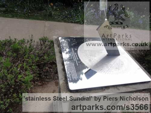 Stainless steel Garden Or Yard / Outside and Outdoor sculpture by sculptor Piers Nicholson titled: 'stainless Steel Sundial; (garden Modern Ornament)' - Artwork View 1