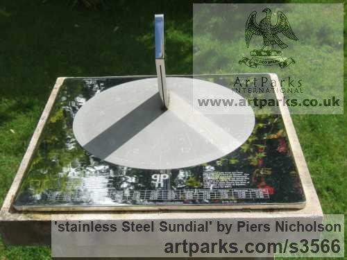 Stainless steel Garden Or Yard / Outside and Outdoor sculpture by sculptor Piers Nicholson titled: 'stainless Steel Sundial; (garden Modern Ornament)' - Artwork View 2