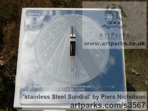 Stainless steel Garden Or Yard / Outside and Outdoor sculpture by sculptor Piers Nicholson titled: 'stainless Steel Sundial (Modern Contemporary Yard garden Park)'