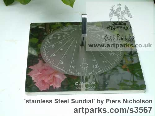 Stainless steel Garden Or Yard / Outside and Outdoor sculpture by sculptor Piers Nicholson titled: 'stainless Steel Sundial (Modern Contemporary Yard garden Park)' - Artwork View 2