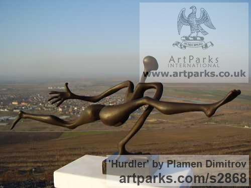 Bronze Athletes Athletics Runners Cyclists Hurdlers Sprinters High Jumpers, Throwers Putters sculpture by sculptor Plamen Dimitrov titled: 'Hurdler (Light Hearted Athlete Hurdler statuette)' - Artwork View 3
