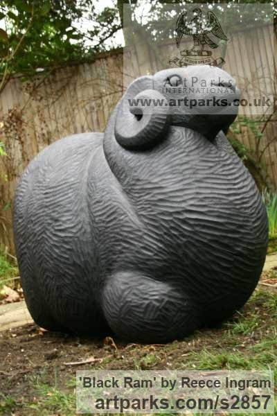 Oak Farm Yard sculpture by sculptor Reece Ingram titled: 'Black Ram (Carved Oak Wood Lifesize Male Sheep statue)'