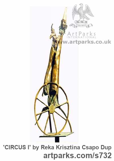 Bronze Tabletop Desktop Small Indoor Statuettes Figurines sculpture by sculptor Reka Krisztina Csapo Dup titled: 'CIRCUS I (abstract Clown Unicycle statue)'
