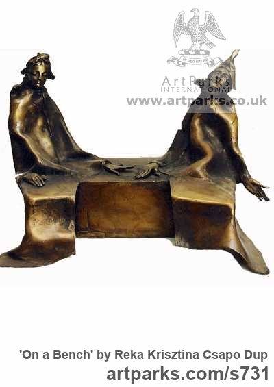 Bronze Male Men Youths Masculine sculpturettes figurines sculpture by sculptor Reka Krisztina Csapo Dup titled: 'On a Bench'