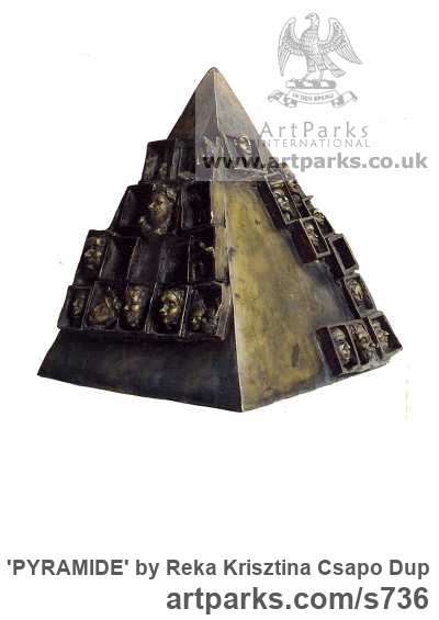 Bronze Stylised Heads / Busts sculpture by sculptor Reka Krisztina Csapo Dup titled: 'PYRAMIDE' - Artwork View 1