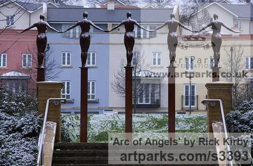 Mild steel Public Art sculpture by sculptor Rick Kirby titled: 'Arc of Angels'