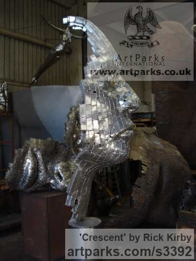 Stainless Steel Abstract Contemporary Modern Outdoor Outside Garden / Yard sculpture statuary sculpture by sculptor Rick Kirby titled: 'Crescent (Large abstract Face stainless Steel statues)' - Artwork View 2