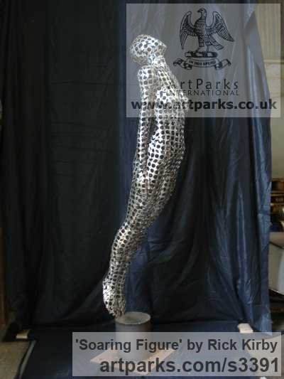 Stainless Steel Garden Or Yard / Outside and Outdoor sculpture by sculptor Rick Kirby titled: 'Soaring Figure (Tall stainless Steel Big nude sculpture)' - Artwork View 1