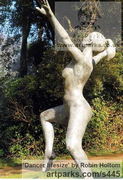 Garden Or Yard / Outside and Outdoor sculpture by sculptor Robin Holtom titled: 'Dancer (Bronze Joyful Rollicking female Dancer sculpture)' - Artwork View 1