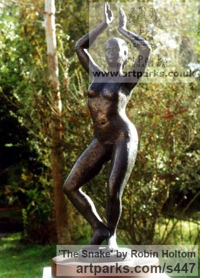 Resin bronze Garden Or Yard / Outside and Outdoor sculpture by sculptor Robin Holtom titled: 'The Snake (Sensuous nude Girl Dancer garden statues)' - Artwork View 1