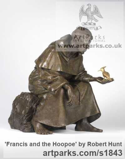 Bronze Saint sculpture sculpture by sculptor Robert Hunt titled: 'statue Francis and the Hoopoe (Small bronze seated Saint sculptures)' - Artwork View 1
