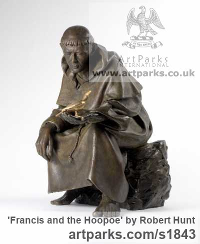 Bronze Saint sculpture sculpture by sculptor Robert Hunt titled: 'statue Francis and the Hoopoe (Small bronze seated Saint sculptures)' - Artwork View 2