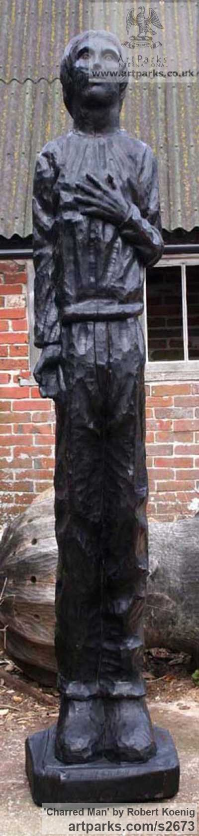Carved wood Garden Or Yard / Outside and Outdoor sculpture by sculptor Robert Koenig titled: 'Charred Man' - Artwork View 2