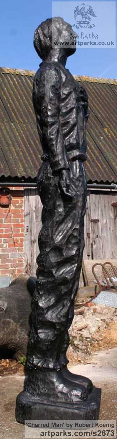Carved wood Garden Or Yard / Outside and Outdoor sculpture by sculptor Robert Koenig titled: 'Charred Man' - Artwork View 3