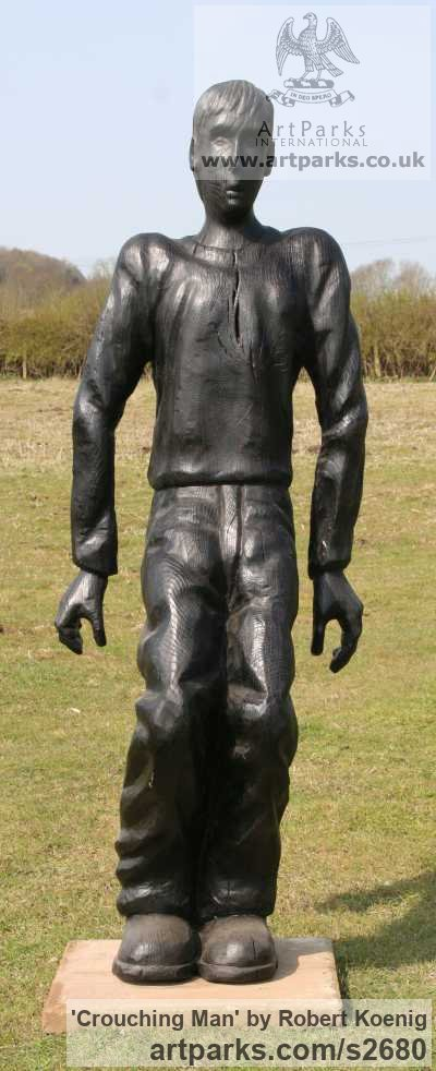 Carved wood Garden Or Yard / Outside and Outdoor sculpture by sculptor Robert Koenig titled: 'Crouching Man'