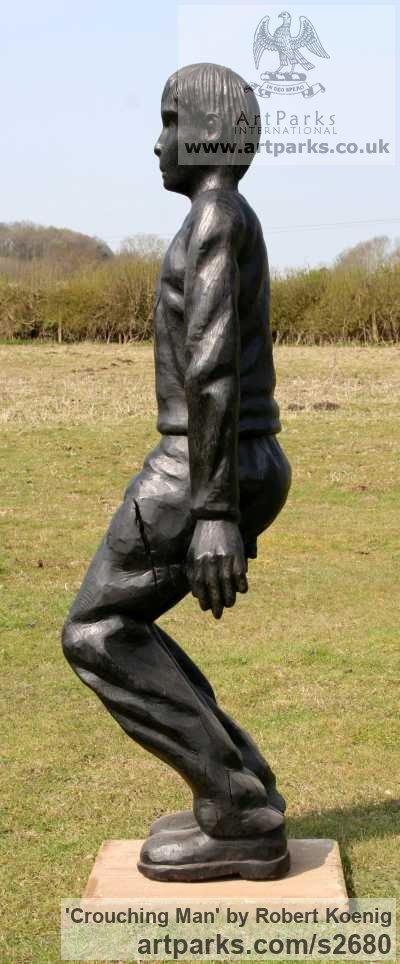Carved wood Garden Or Yard / Outside and Outdoor sculpture by sculptor Robert Koenig titled: 'Crouching Man' - Artwork View 2