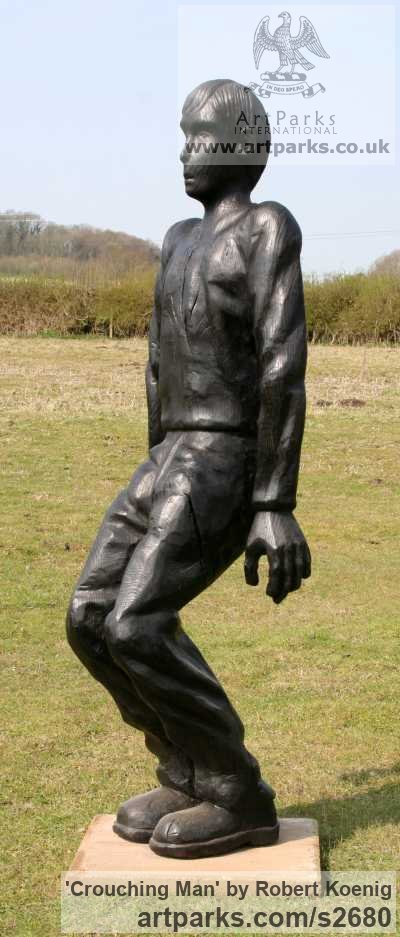 Carved wood Garden Or Yard / Outside and Outdoor sculpture by sculptor Robert Koenig titled: 'Crouching Man' - Artwork View 3