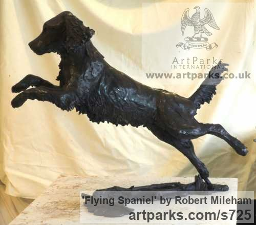 Bronze Garden Or Yard / Outside and Outdoor sculpture by sculptor Robert Mileham titled: 'Flying Spaniel (Bronze Lively Life Jumping Dog sculptures/statues)'