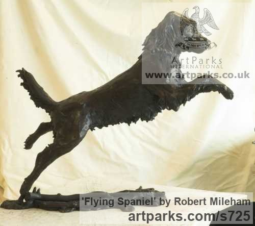Bronze Garden Or Yard / Outside and Outdoor sculpture by sculptor Robert Mileham titled: 'Flying Spaniel (Bronze Lively Life Jumping Dog sculptures/statues)' - Artwork View 2