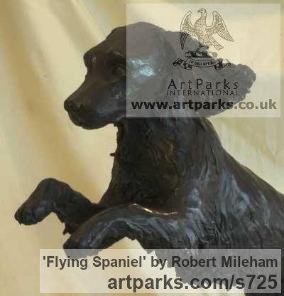Bronze Garden Or Yard / Outside and Outdoor sculpture by sculptor Robert Mileham titled: 'Flying Spaniel (Bronze Lively Life Jumping Dog sculptures/statues)' - Artwork View 3