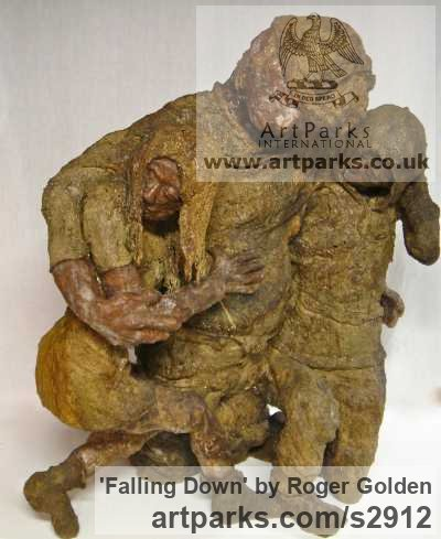 Burlap & Winterstone & Encaustic Male Men Youths Masculine sculpturettes figurines sculpture by sculptor Roger Golden titled: 'Falling Down (Intoxicated People sculpture)'
