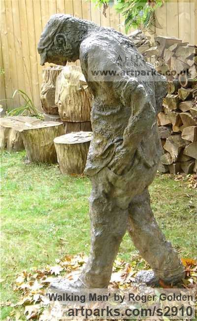 Burlap & Winterstone (cement) Portrait Sculptures / Commission or Bespoke or Customised sculpture by sculptor Roger Golden titled: 'Walking Man'