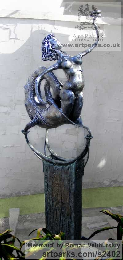 Iron Nudes, Female sculpture by sculptor Roman Velihurskiy titled: 'Mermaid'