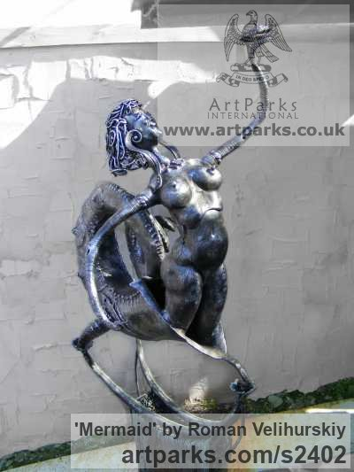 Iron Nudes, Female sculpture by sculptor Roman Velihurskiy titled: 'Mermaid' - Artwork View 3