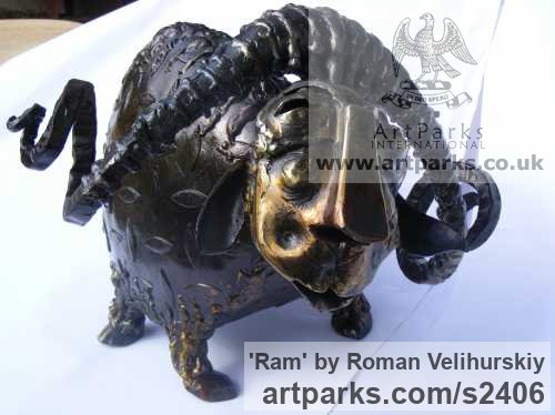 Iron Garden Or Yard / Outside and Outdoor sculpture by sculptor Roman Velihurskiy titled: 'Ram (Iron Metal Standing Sheep humerous sculpture)' - Artwork View 3
