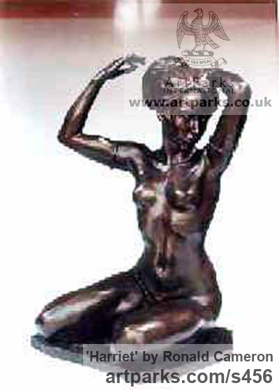 Bronze Females Women Girls Ladies sculpture statuettes figurines sculpture by sculptor Ronald Cameron titled: 'Harriet Bronze nude Dancer Girl statue/statuette/sculpture' - Artwork View 2