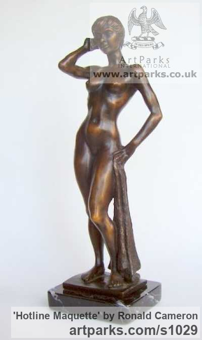 Bronze Females Women Girls Ladies sculpture statuettes figurines sculpture by sculptor Ronald Cameron titled: 'Hotline Maquette (Little/Small Bronze nude Girl Phoning statuettes)' - Artwork View 3