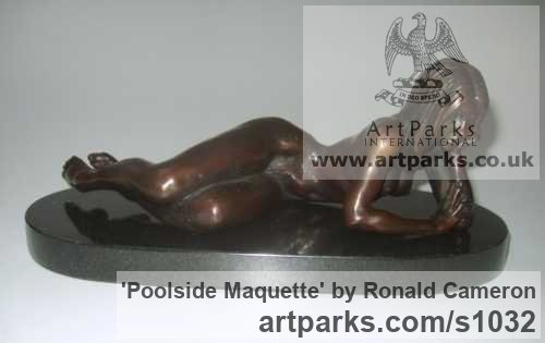 Bronze Females Women Girls Ladies sculpture statuettes figurines sculpture by sculptor Ronald Cameron titled: 'Poolside Maquette (Little/Small bronze nude/Naked Girl Lying statuette)'