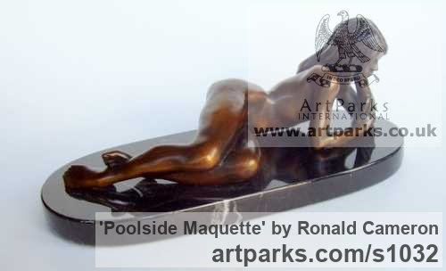 Bronze Females Women Girls Ladies sculpture statuettes figurines sculpture by sculptor Ronald Cameron titled: 'Poolside Maquette (Little/Small bronze nude/Naked Girl Lying statuette)' - Artwork View 3