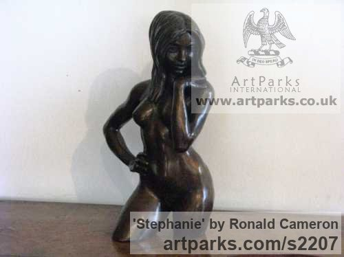Bronze Females Women Girls Ladies sculpture statuettes figurines sculpture by sculptor Ronald Cameron titled: 'Stephanie (Little/Small bronze Naked Girl Wading statuettes/figurine)' - Artwork View 3