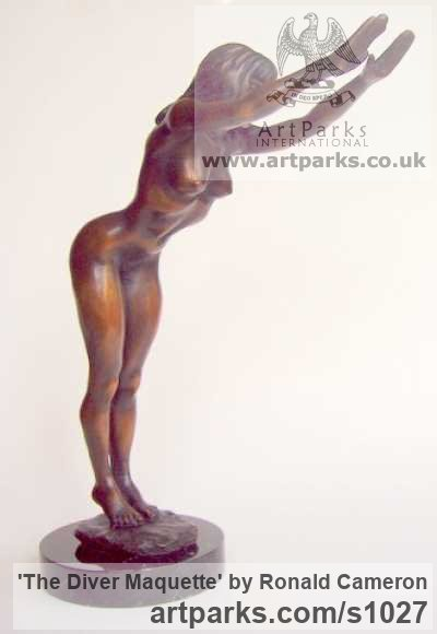 Bronze Females Women Girls Ladies sculpture statuettes figurines sculpture by sculptor Ronald Cameron titled: 'The Diver Maquette (bronze Naked Swimmer sculpture)' - Artwork View 2