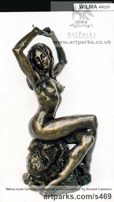 Bronze Females Women Girls Ladies sculpture statuettes figurines sculpture by sculptor Ronald Cameron titled: 'Wilma nude Girl Dancer Dancing statue/sculpture'