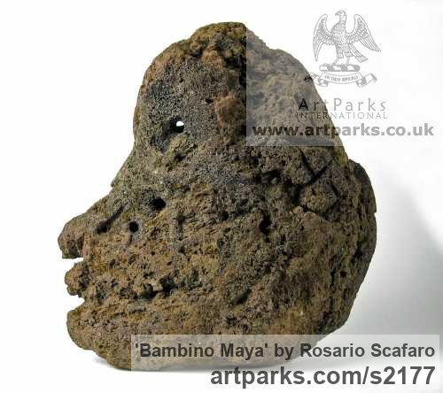 Etna Lava Stone Primitive or Naive style Sculpture or Statuary sculpture by sculptor Rosario Scafaro titled: 'Bambino Maya (Lava stone Primitive Modern Head shoulders sculptures)' - Artwork View 4