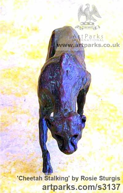 Bronze Cats Wild and Big Cats sculpture by sculptor Rosie Sturgis titled: 'Cheetah Stalking (Bronze Little Prowling sculptures)' - Artwork View 1