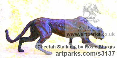 Bronze Cats Wild and Big Cats sculpture by sculptor Rosie Sturgis titled: 'Cheetah Stalking (Bronze Little Prowling sculptures)' - Artwork View 2