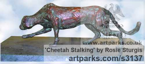 Bronze Cats Wild and Big Cats sculpture by sculptor Rosie Sturgis titled: 'Cheetah Stalking (Bronze Little Prowling sculptures)' - Artwork View 3