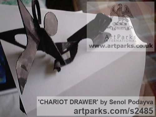Iron Tabletop Desktop Small Indoor Statuettes Figurines sculpture by sculptor Senol Podayva titled: 'CHARIOT DRAWER (Contemporary Modern Metal sculptures)'