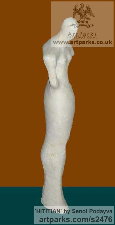 Gypsum Females Women Girls Ladies sculpture statuettes figurines sculpture by sculptor Senol Podayva titled: 'HITITIAN (Contemporary Naive abstract Woman statue)' - Artwork View 1