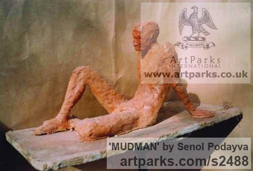 Sculpture Clay Male Men Youths Masculine sculpturettes figurines sculpture by sculptor Senol Podayva titled: 'MUDMAN'