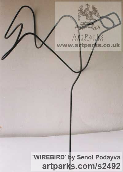 Metal Wall Mounted or Wall Hanging sculpture by sculptor Senol Podayva titled: 'WIREBIRD (Metai Wire abstract Contemporary Delicate Indoor Bird statue)' - Artwork View 1