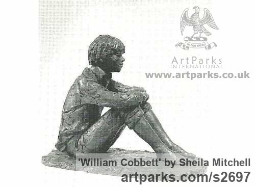 Bronze Male Men Youths Masculine sculpturettes figurines sculpture by sculptor Sheila Mitchell titled: 'William Cobbett'