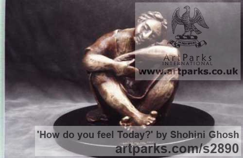 Bronze Sculptures of females by artist Shohini Ghosh titled: 'How do you feel Today? (Dozing Seated/Squatting Woman/female statuette)'