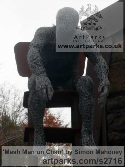 Steel, galvanized wire, plastic and wood Male Men Youths Masculine sculpturettes figurines sculpture by sculptor Simon Mahoney titled: 'Mesh Man on Chair (Chicken Wire Mesh Seated Man Stylised sculptures)' - Artwork View 4