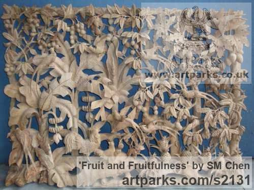 Camphor Wood Wall Mounted or Wall Hanging sculpture by sculptor SM Chen titled: 'Fruit and Fruitfulness (Carved High Relief Wood Chinese panel)'