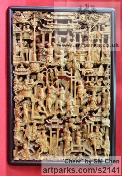 Camphor Wood Wall Mounted or Wall Hanging sculpture by sculptor SM Chen titled: 'Cheer (Rectangular Intricate Carved Wood figurative Wall panel Carving)'